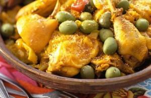 Tajine de poulet et olives vertes