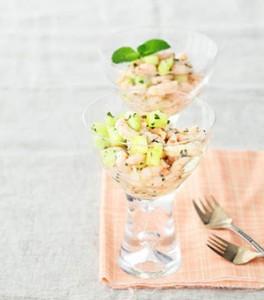 verrine concombre crevette menthe pour Ramadan